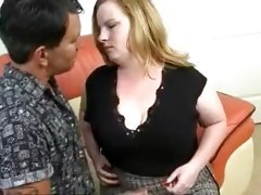 man fingers and fucks luscious pussy of one nasty fat woman
