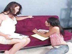 Shy lesbo teen gets seduced by BBW cutie