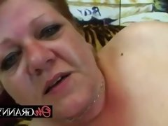 Chubby old bitch showing young cock a good time