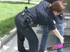Rebellious policewomen can't resist a throbbing...