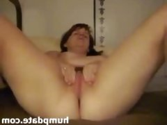 Chubby babe toys her pussy and masturbates