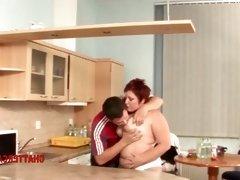 BBW Redhead Big Tits Fucked in Kitchen
