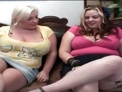 BBW lesbos in sexy outfits seducing each other