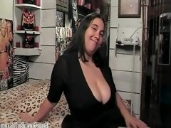 Big tit BBW masturbates and deepthroats a dick