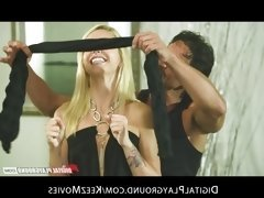Horny young blonde slut is blindfolded then fucked by...