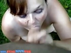 Chubby BBW wife sucking at the backyard