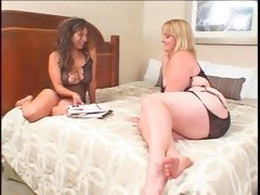 BBW blonde gets twat lesbo licked in close-up