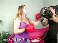 Beautiful curvy juggy seduces hunky personal box trainer