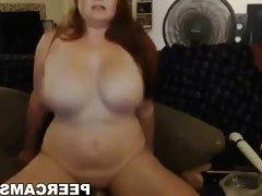 Busty amateur brunette BBW riding her toy on web cam