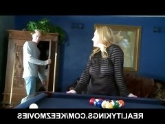 Thick and busty blonde gets a lesson in pool and a hard cock