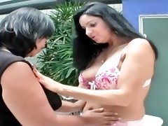 Sexy BBW lesbians licking hot pussy and boobies