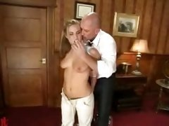 Blonde with perky tits spanked in the office gets fucked...